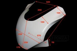 Aprilia RSV Tuono 2003-2005 -Vrchní díl racing - maska  - rozměry