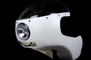 světlomet-Chrom 4 1/2 palce - ukázka v kapotáži Ducati Imola