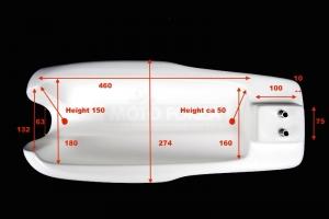 Nádrž , GFK s Monza zátkou Honda 250 350 500 , Honda CB, Honda Hailwood - rozměry nádrže