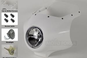 SET - UNI Polokapotáž RD STYLE - kapotá s přeindstalovaným světlem 5 3/4 a držky pro světlo, předchysatným plexisklem se šrouby na plexi.