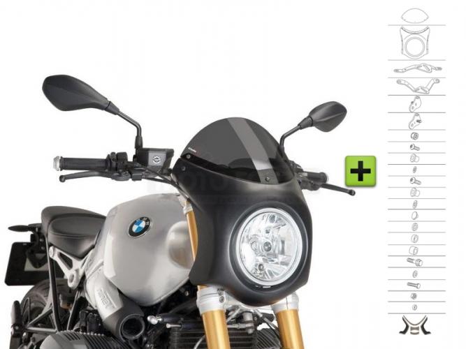 UNI Polokapotáž CAFE RACER RETRO - SET - BMW R NINE T 2014-2020 -  lehce kouřové plexi